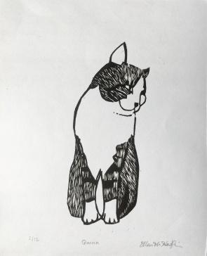 """""""Quinn"""", woodcut print, 2018"""