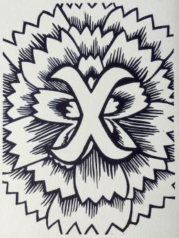 """X"", woodcut print, 2017"
